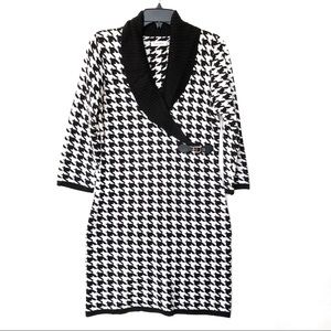 Calvin Klein Houndstooth Sweater Dress Black White